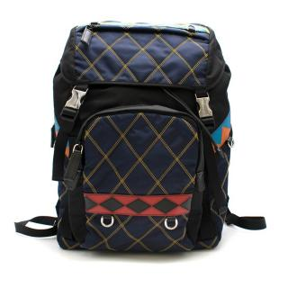 Prada Diamond StitchBlack/Blue Nylon & Leather Backpack