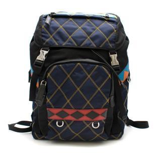Prada Diamond StitchBlack/Blue Nylon & Leather Backpack