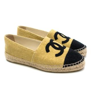 Chanel Gold & Black Glitter Cap-Toe Espadrilles