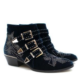 Chloe Susanna Studded Velvet Ankle Boots in Navy