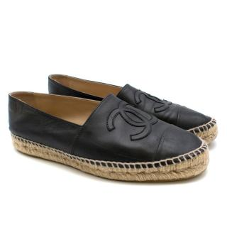 Chanel Black Lambskin Leather CC Espadrilles