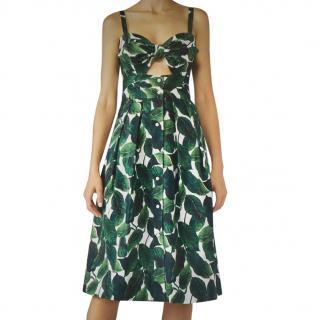 Milly Banana Leaf Printed Midi dress
