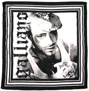 Galliano Black & White Printed Silk Scarf