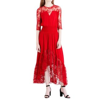 MAJE Ritema floral-panel chiffon and lace maxi dress