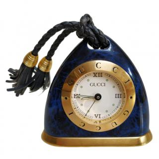 Guuci Faux blue enamel and gold plate alarm clock