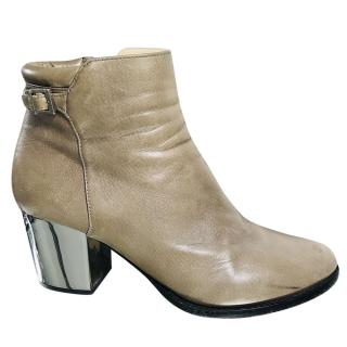 JImmy Choo Taupe Block Heel Ankle Boots