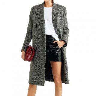 Saint Laurent Herringbone wool-blend coat