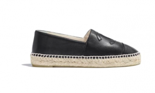 Chanel black leather rope soled espadrilles