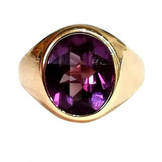 Bespoke vintage checkerboard cut Russian Alexandrite ring