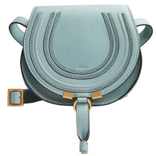 Chloe Small Grain Calfskin Mini Marcie Saddle Bag in Faded Blue