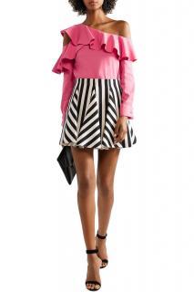 Oscar De La Renta Pink Stretch Silk Asymmetric Ruffle Top