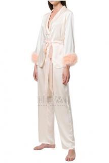 Maguy De Chadirac marabou feather blush pyjamas