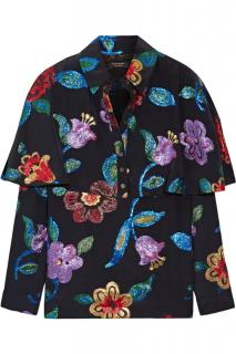 Burberry Fil Coupe Embellished Silk Blouse