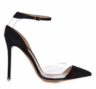Gianvito Rossi Plexi suede and PVC ankle-strap pumps