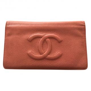 Chanel Coral Caviar Leather Bi-Fold Wallet