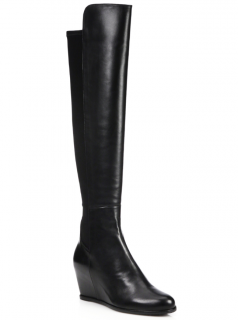 Stuart Weitzman 5050 Leather & Suede Over-the-knee Wedge Boots