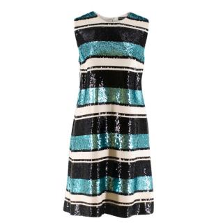 Dolce and Gabanna Striped Sequinned Dress