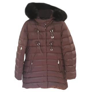 Dior Brown Fox Fur Trim Puffer Coat