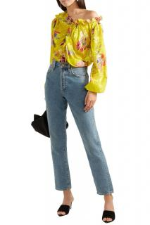 Preen Yellow Satin Devore Floral Print Blouse