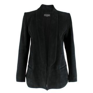 Balmain Black Suede Open Tailored Jacket