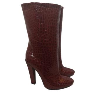 Jimmy Choo Bordeaux Croc Embossed Helena Boots