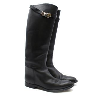 Hermes Black Calfskin Leather Riding Boots