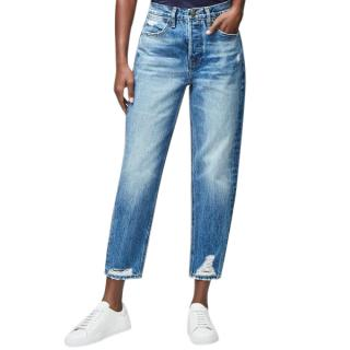 Frame Le Pegged Straight Fit Distressed Ankle Crop Jeans