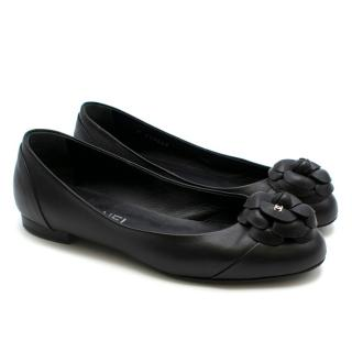 Chanel Black Leather Camellia Flower Ballet Pumps