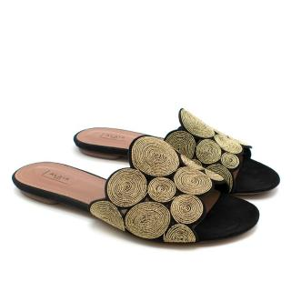Alaia Embroidered Gold Leather Sandals