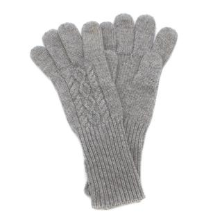 Malo Grey Cashmere Ribbed Gloves