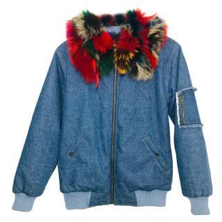 Bespoke Racoon & Rabbit Fur Trim Denim Coat