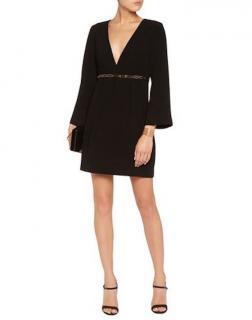 Halston Heritage Black Empire Waist Embellished Dress