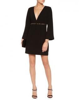 Halston Heritage Black Empire Waist Embellished Dress