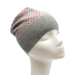 Brunello Cucinelli Grey & Red Cashmere Beanie