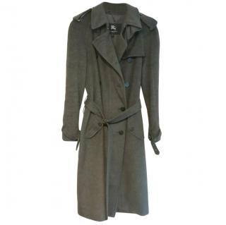 Burberry Grey Wool & Cashmere Wrap Coat