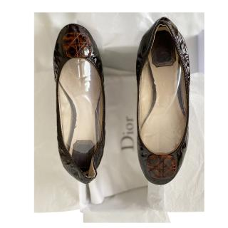 Dior Brown Patent Cannage Leather Ballerina Flats