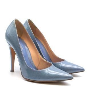 Sergio Rossi Blue Patent Leather Pointed Godiva Pumps