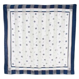 Chanel Blue & White CC Logo Silk Scarf