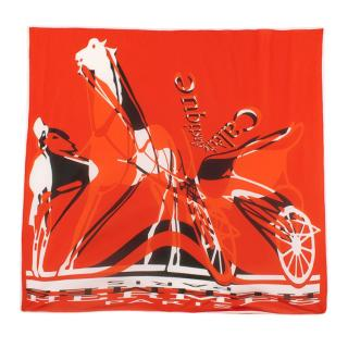 Hermes Red Caleche Elastique Remix Silk Scarf 90