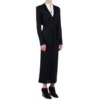 Balmain Black Harlequin Belted-Cardigan