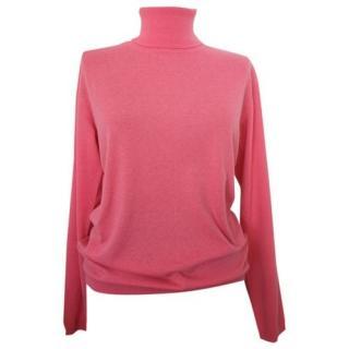 Max Mara Pink Virgin Wool Roll Neck Jumper