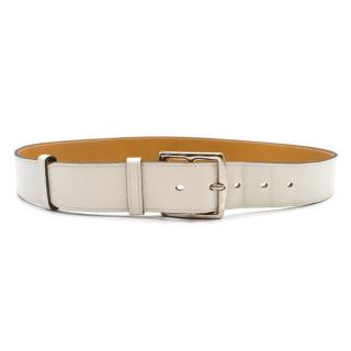 Hermes White Double Tour Buckle Leather Belt