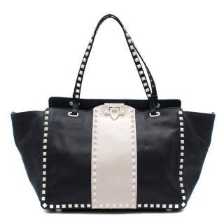 Valentino Garavani The Rockstud two-tone leather trapeze bag