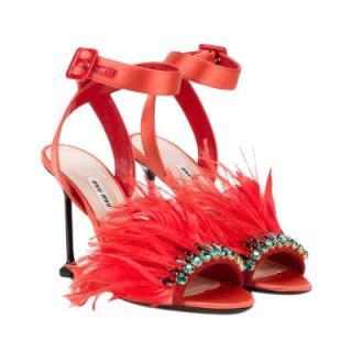 Miu Miu Red Ostrich Feather Trim Sandals