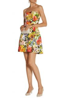 Dolce & Gabbana floral-brocade strapless mini dress