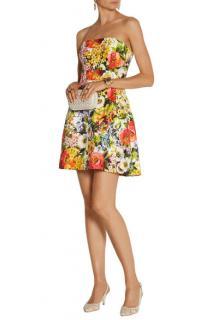 Dolce & Gabbana floral-brocade strapless mini dress