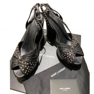 Saint Laurent Black Leather & Python Studded Platform Sandals