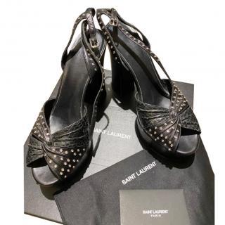Saint Laurent Black Leather & Python Studded Platform Sandals