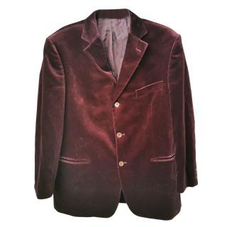 Balmain Men's Burgundy Velvet Jacket