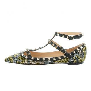Valentino Crystal Embellished Rockstud Flats
